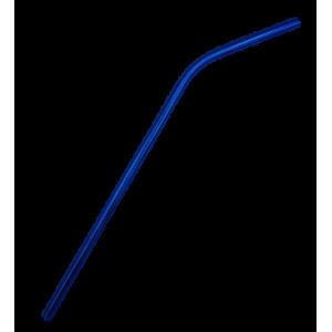 Paille inox courbée bleue